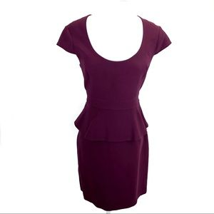 Ann Taylor peplum scoop neck burgundy dress - 6